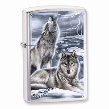 Zippo Mazzi-Winter Brushed Chrome Lighter - Engravable Personalized Gift Item