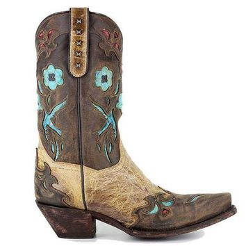 CREYONIG Dan Post Blue Bird - Beige/Brown/Turquoise Leather Western Boot