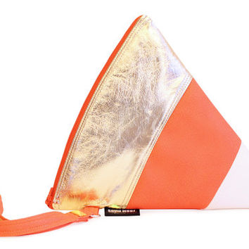 Treat or Treat Clutch Bag With Wristlet | Candy Corn Halloween Holiday Purse | Geek Chic