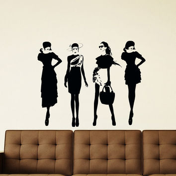 Fashion Girls Wall Decal Vinyl Sticker Lady Woman Silhouette Vinyl Wall Decals Murals Design Interior Beauty Salon Girls Bedroom Decor Z863