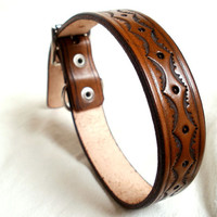 "Tooled leather dog collar, large, 1"" wide, in tan, brown or mahogany, embossed pattern, made to order"