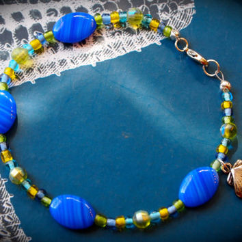 Anklet/Spring Tide Anklet - Cobalt Blue Czech Flat Oval Glass - Persian Green Facet Round Glass - Seed Beads - Antique Silver Shell Charm