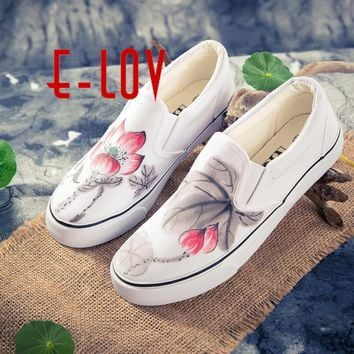 E-LOV Chinese Painting Unisex Designs Hand-Painted Canvas Shoes Personalized Men Adult Casual Shoes Customed Platform Shoes