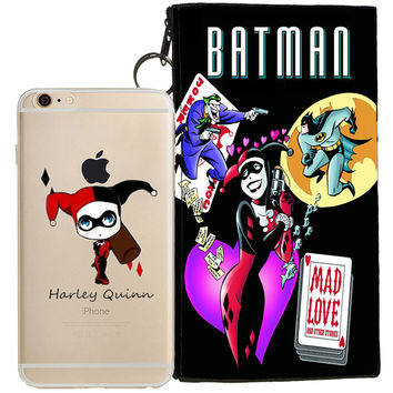 Harley Quinn Jelly Clear Case For Apple Iphone 5/5s, SE + Pouch