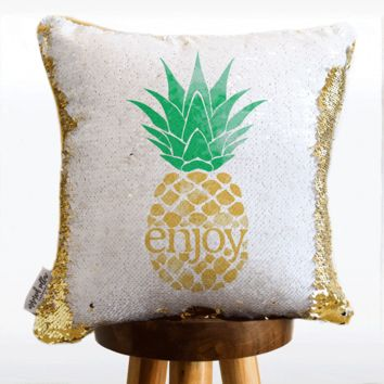 ENJOY Pineapple Mermaid Pillow w/ Gold & White Sequins - COVER ONLY (Inserts Sold Separately)