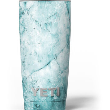 Cracked Turquoise Marble Surface Yeti Rambler Skin Kit