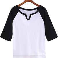 Black and White V-Neckline Dip Hem T-Shirt