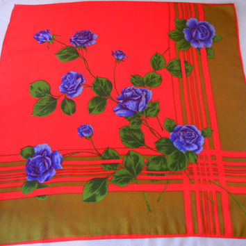 Vintage Scarf Blue Roses on a Red and Olive Green Background, Trompe L'oeil Print