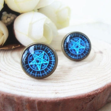 Fashion Vintage Black Butler Ballhead Kuroshitsuji Anime Star Ear Stud Earrings = 1946116932