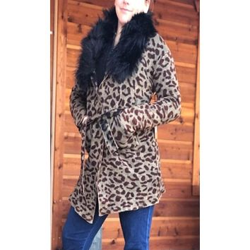 NuVintage Haizy Sweater Jacket w/Detachable Faux Fur Collar