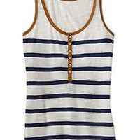 Women's Striped Henley Tanks | Old Navy