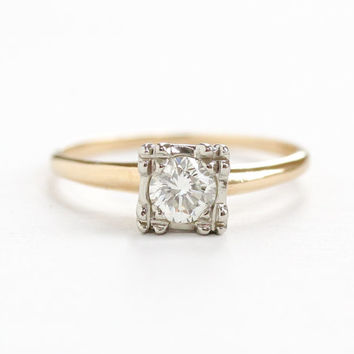 Vintage 14k Yellow & White Gold 1/2 Carat OEC Diamond Solitaire Ring - Size 8 1940s Late Art Deco Engagement Wedding Two Tone Fine Jewelry