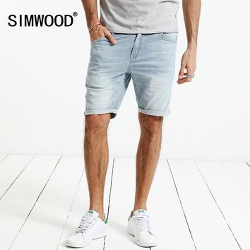 SIMWOOD 2017 New Summer  Casual Shorts Men  Cotton Striped Denim knee Length  Jeans Vintage Scratched Brand Clothing  ND017004
