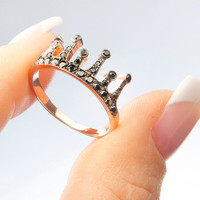 Sterling silver crown ring,Cz crown ring,Gold crown ring, Swarovski crown ring, Rose gold ring, Princess ring, Rhodium plate crown ring