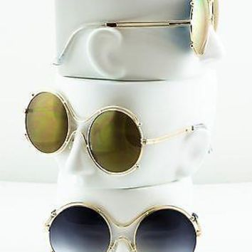 """Isidora"" Big Round Mirror Lens Double Halo Coachella Hippie Women Sunglasses"