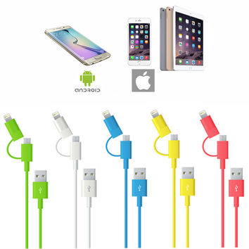 2 in 1 Lightning & Micro-USB for iPhone 5 5s 5c 6 6+ & Android Smartphones