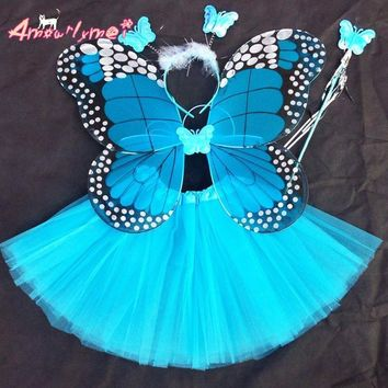 Amourlymei 4 piece set Fantasy Fairy Angel butterfly wings+tutu skirt Christmas Halloween Party Cosplay Costumes For Girl Kid