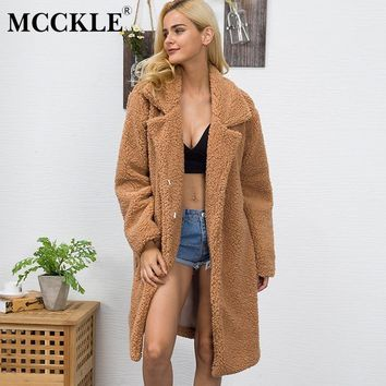 MCCKLE Women Faux Fur Coat 2018 Autumn Winter Fluffy Shaggy Long Fur Coat Female Solid Thick Warm Jacket Outwear Plus Size 3XL