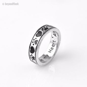 """Engraved """"Always by my side, Forever in my heart"""" Dog Paw print Wrap Ring"""
