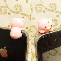 35%OFF Kawaii Hanging Pink Pig Piglet Piggy Dust Plug 3.5mm Phone Charm Headphone Jack Earphone Cap iPhone 4 4S 5 6 iPad HTC Samsung
