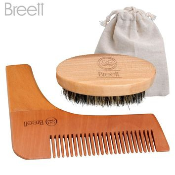 Beard Comb Kit for Men Beard & Mustache Bristles Beard Brush & Pure Natural Schima Wood Comb Beard Stylish Tool Set