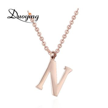 DUOYING Optional Letters Necklace Tiny Stainless Steel 26 Letters A-Z Initial Rose Golden Necklace For Women Girls Anniversaries
