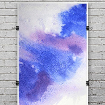 Blue and Pink Watercolor Spill - Ultra Rich Poster Print