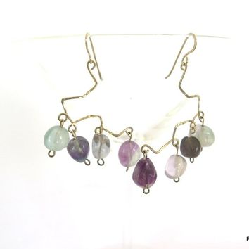 Rainbow Fluorite Chandelier Earrings, Gift for her