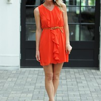 Red Ruffle Front Dress - Red Shift Dress Open Back - $75.00 | Hand In Pocket Boutique