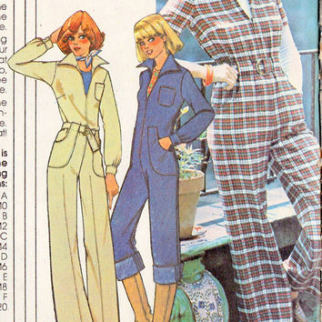 "1970s Misses Jumpsuit Vintage Sewing Pattern, McCalls 5299  Bust 36"" 38"" 40"" uncut"