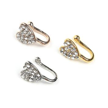 New crystal heart unique fake nose ring for women fake septum piercing nose rings and studs noseclip splint body jewelry