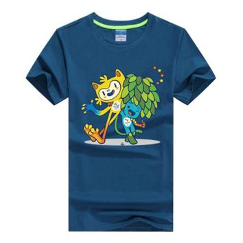Commemorative Tees Rio 2016 Olympic Games Round Neck T-Shirt Mascot-XXL Blue Ink