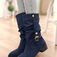 New Women Blue Round Toe Mid Buckle Mid-Calf Casual Boots