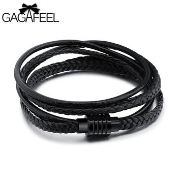 GAGAFEEL Magnetic Buckle Black Men Jewelry Leather Cowhide Bracelet Punk Stainless Steel Bangle Rope Chain Multiple Layers