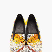 Alexander McQueen Gold Jacquard Woven Loafers for men | SSENSE