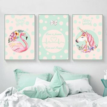 Kawaii Nordic Children Unicorn Flamingo Wall Art Canvas Prints Painting Decorative Pictures