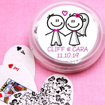 12 Couple Stick Figure Bridal Shower and Wedding Deck of Cards Favors