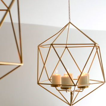 Hexagonal Gold Hanging Candle Holder