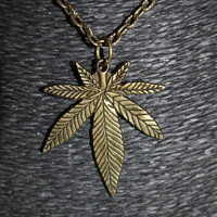"Bronze ""Leaf"" Pendant Necklace"