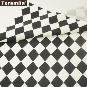 Teramila Fabrics 100% Cotton Twill Geometry Black and White Squares Designs Bedding Home Textile Patchwork Quilting Tissue