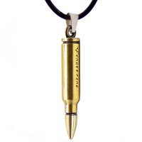 Mens Womens Vintage Bullet Pendant Necklace Best Chirstmas Gift