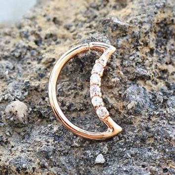 Annealed Rose Gold Jeweled Crescent Moon Cartilage Earring