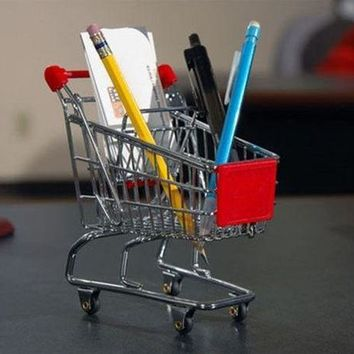 CREYEJ6 Mini Shopping Cart Pen Holder Desk Accessory