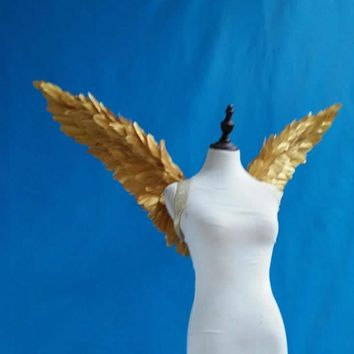 Sexy Gold Feather Angel Wings Cosplay Costume Anime