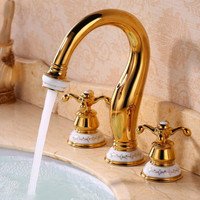 Bathroom faucet 3 holes double handle Gold 8 inch widespread basin faucet sink water taps solid brass in the bathroom products