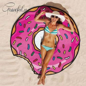 VONE05L Round Beach Covers-Up 2017 Food Printed Bikini Cover Up Bathing Suit Robe De Plage Swimsuit Tunic Pareo Blanket