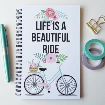 Writing journal, spiral notebook, bullet journal, white floral, sketchbook, blank lined or grid paper, bicycle - Life is a beautiful ride