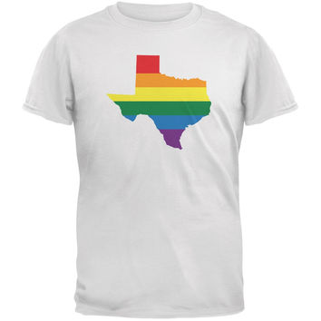Texas LGBT Gay Pride Rainbow White Adult T-Shirt