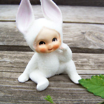 Vintage Japan Bunny Pixie , White Glitter Pixie Figurine Oval Blue Made in Japan 1952 Label