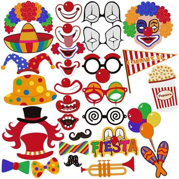 BESTOYARD 30pcs Birthday Party Carnival Photo Booth Stick Props Circus Clown Cosplay